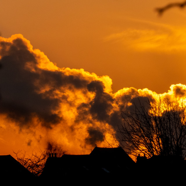 """Power Station Steam at Sunset"" stock image"
