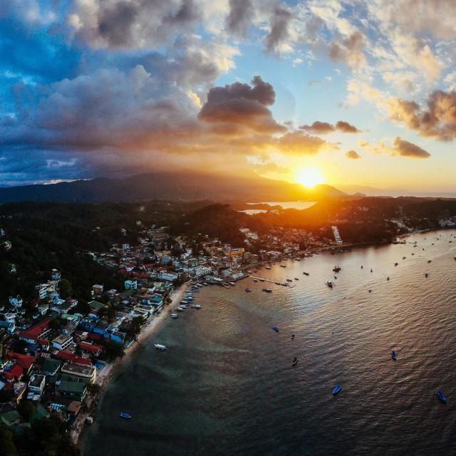 """Panorama Drohnenaufnahme von Puerto Galera"" stock image"