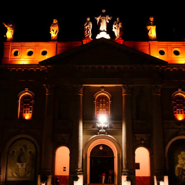 """Illuminated church"" stock image"