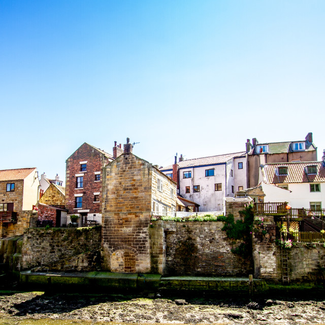 """Staithes Cottages on the Harbourside. Yorkshire Coast, England."" stock image"