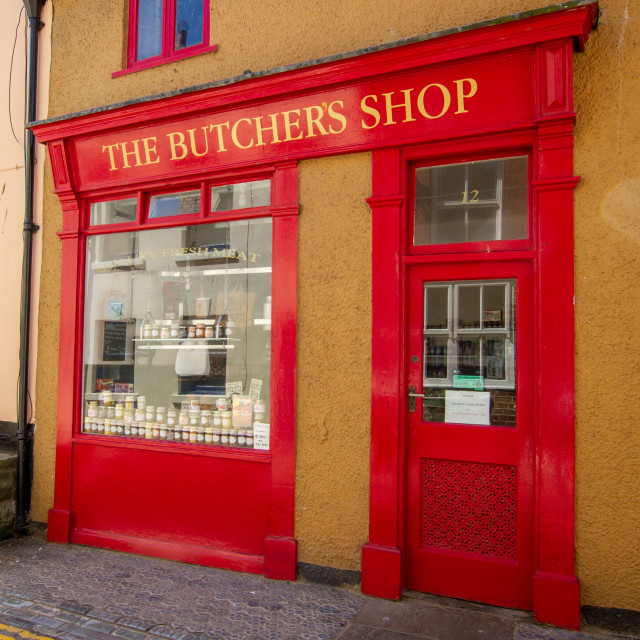 """Staithes, High Street , The Butchers Shop."" stock image"