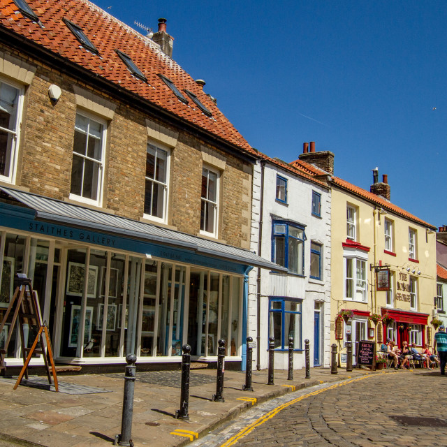 """Staithes Gallery and High Street, Staithes, Yorkshire, England."" stock image"