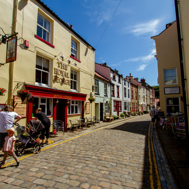 """The Royal George, Staithes, High Street, Yorkshire, England."" stock image"