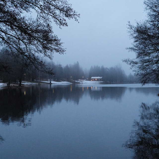 """Misty winter lake"" stock image"
