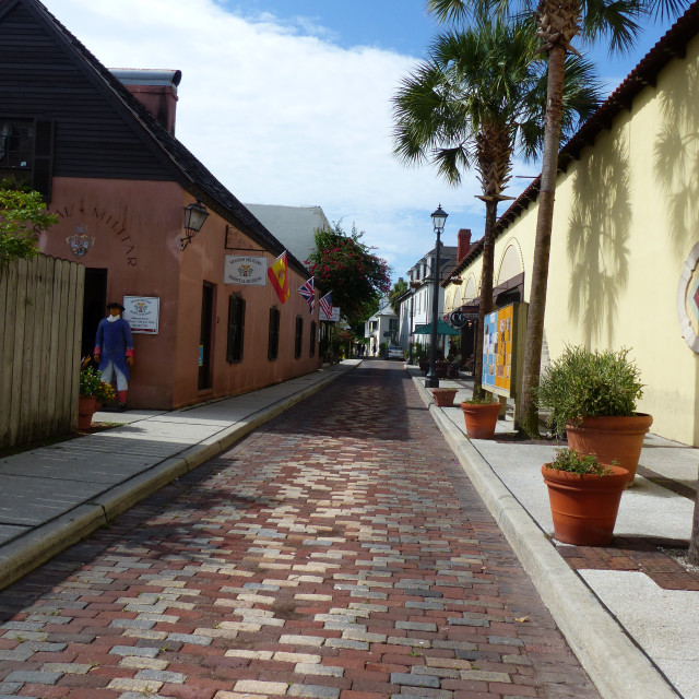 """""""Brick paved street in St Augustine"""" stock image"""