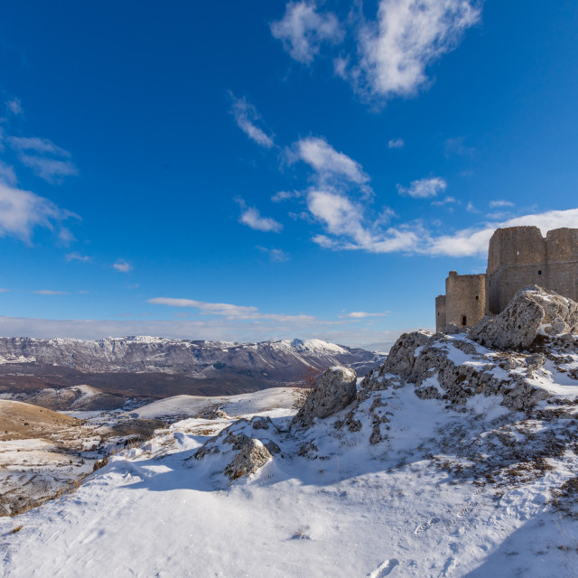 """""""Rocca Calascio under the snow on a sunny day"""" stock image"""