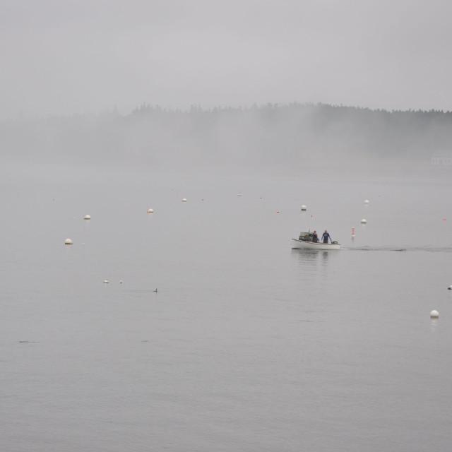 """""""Lobster boat in mist"""" stock image"""
