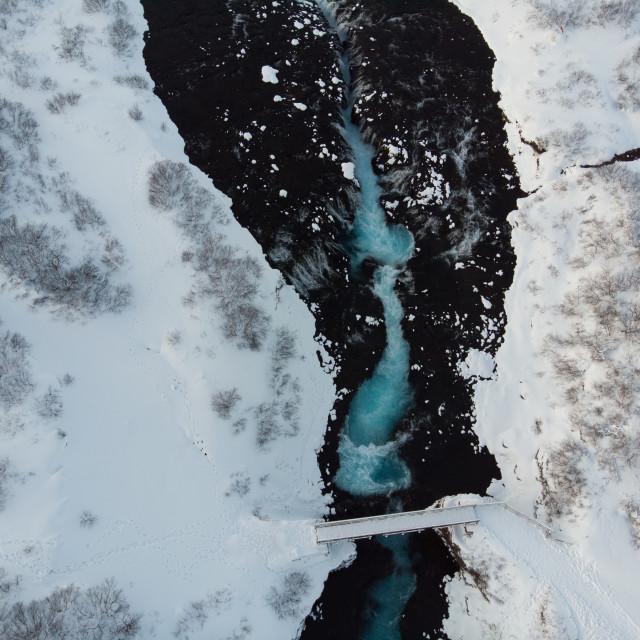 """Brúarfoss blue waterfall"" stock image"