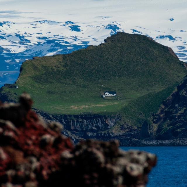 """Lone house on the Elliðaey island"" stock image"