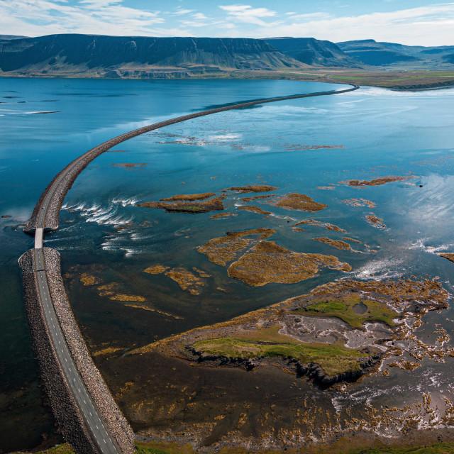 """Long bridge before West Fjords"" stock image"