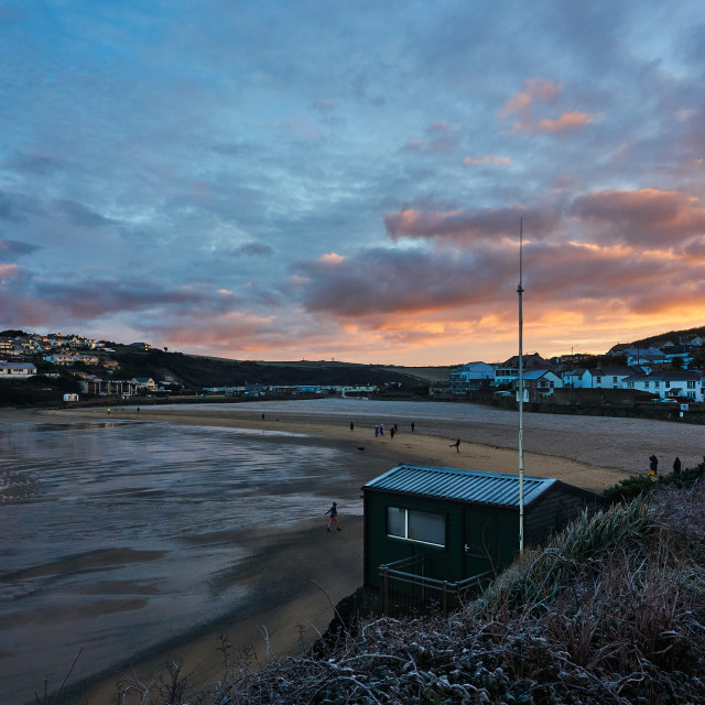 """""""Frosty morning at Porth."""" stock image"""
