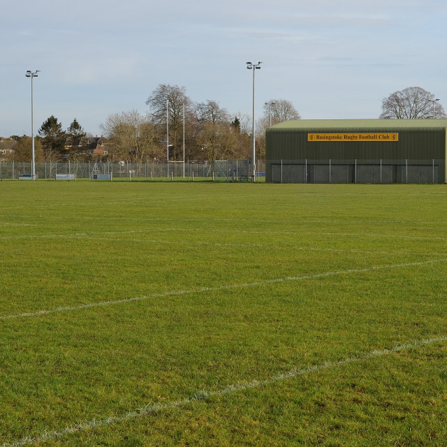 """Basingstoke Rugby Club Ground, Hampshire, UK"" stock image"