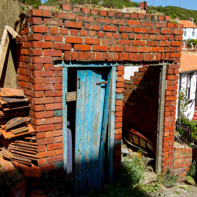 """Brick Dilapidated Outbuildings, Staithes, Yorkshire England."" stock image"