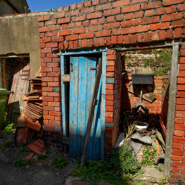 """Render and Brick Dilapidated Outbuildings, Staithes, Yorkshire England."" stock image"