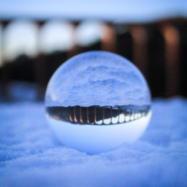 """""""Lens ball in the snow"""" stock image"""