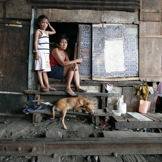 """Manila Killertrain-Dangerous Life in the Slums"" stock image"