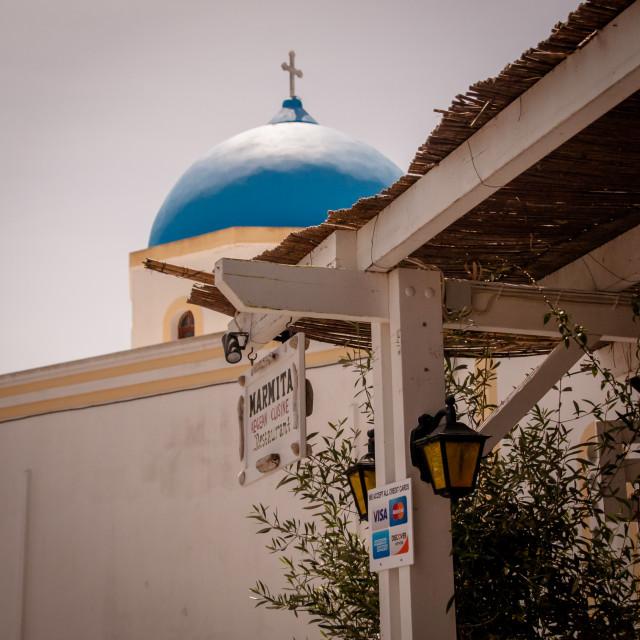 """Megalochori Church & Restaurant"" stock image"