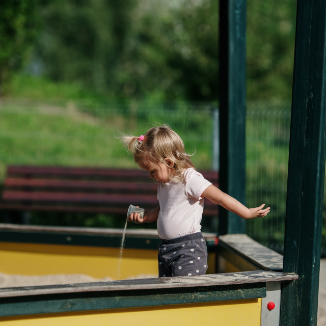 """""""young blonde girl have fun on Children's Playground"""" stock image"""