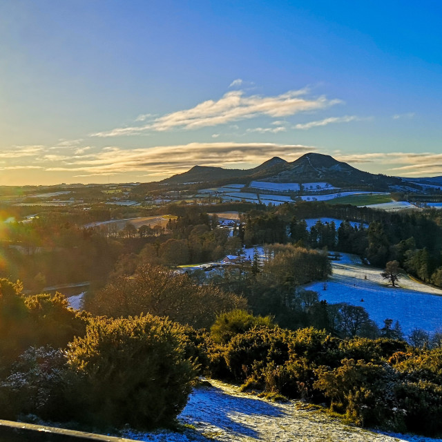 """Wintery Eildon Hills"" stock image"