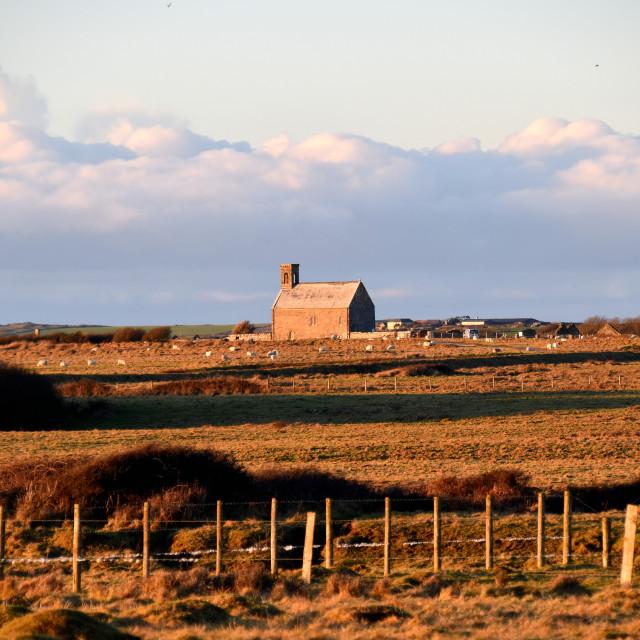 """Flimston Chapel in winter."" stock image"