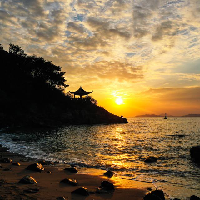 """Sunset at Pavilion Beach"" stock image"
