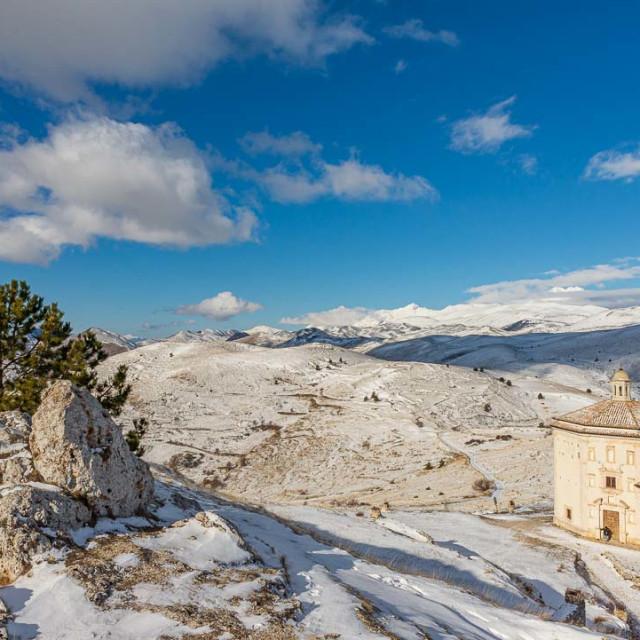 """""""Church of Santa Maria della Pietà in the municipality of Calasc"""" stock image"""