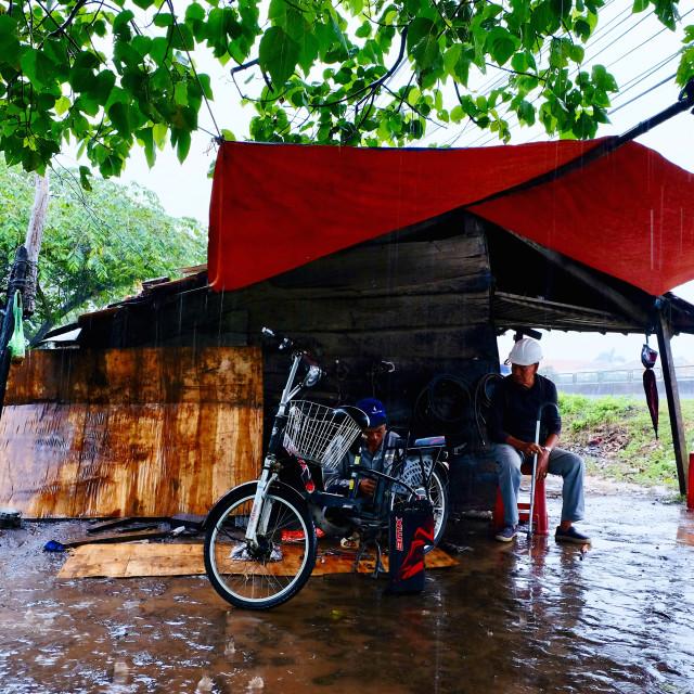 """""""Motobike workshop"""" stock image"""