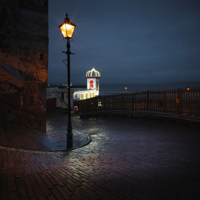 """""""The cobbles glowed in the street lights"""" stock image"""