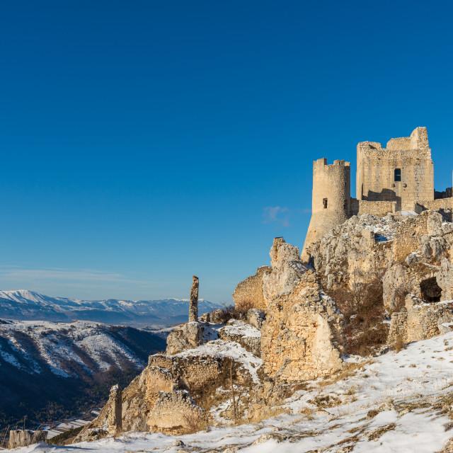 """""""Norman castle Rocca Calascio in the Gran Sasso and Monti della L"""" stock image"""