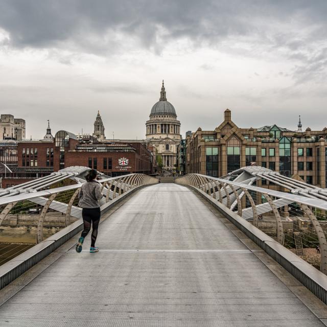 """""""Millennium Bridge Lockdown"""" stock image"""