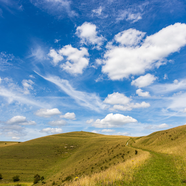 """""""Summer skies over the Pewsey Downs"""" stock image"""