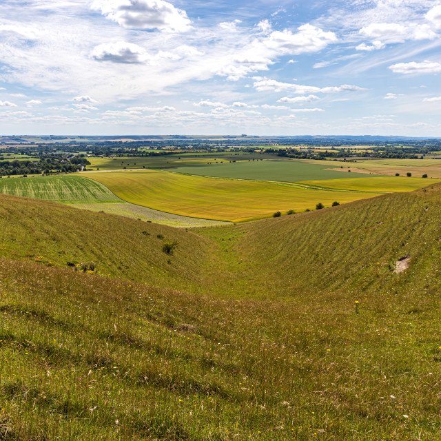 """""""View south from Pewsey Downs"""" stock image"""