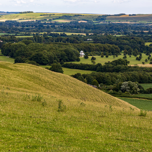 """""""Oare House from the Pewsey Downs"""" stock image"""