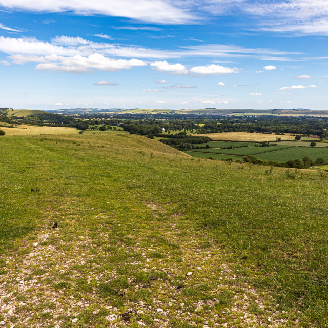 """""""View southeast from the Pewsey Downs"""" stock image"""