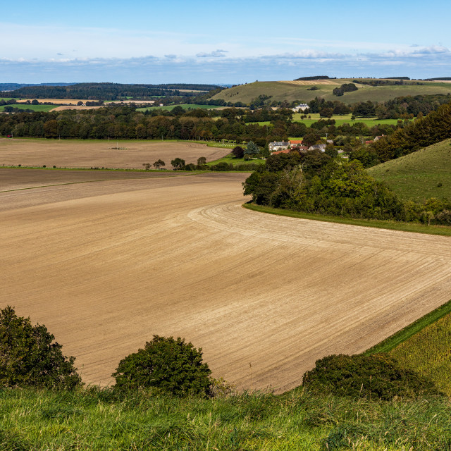 """""""View over the Wiltshire countryside from Win Green"""" stock image"""