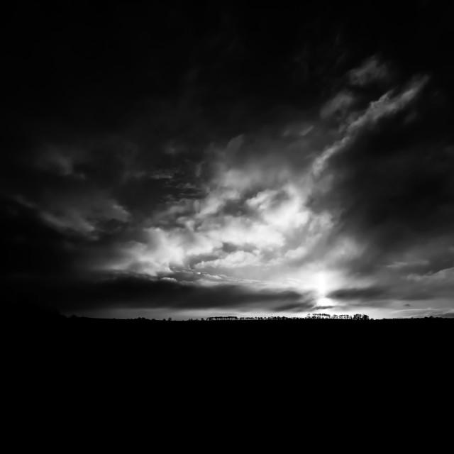 """Dramatic Sky Sunset in Mono"" stock image"