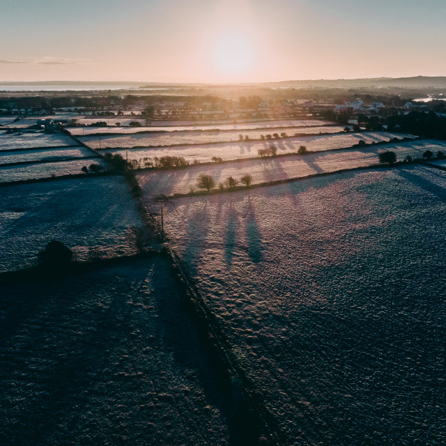"""""""Frosty sunrise in Moycullen, Galway."""" stock image"""