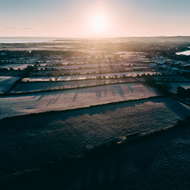 """""""Frosty sunrise in Moycullen, Galway"""" stock image"""