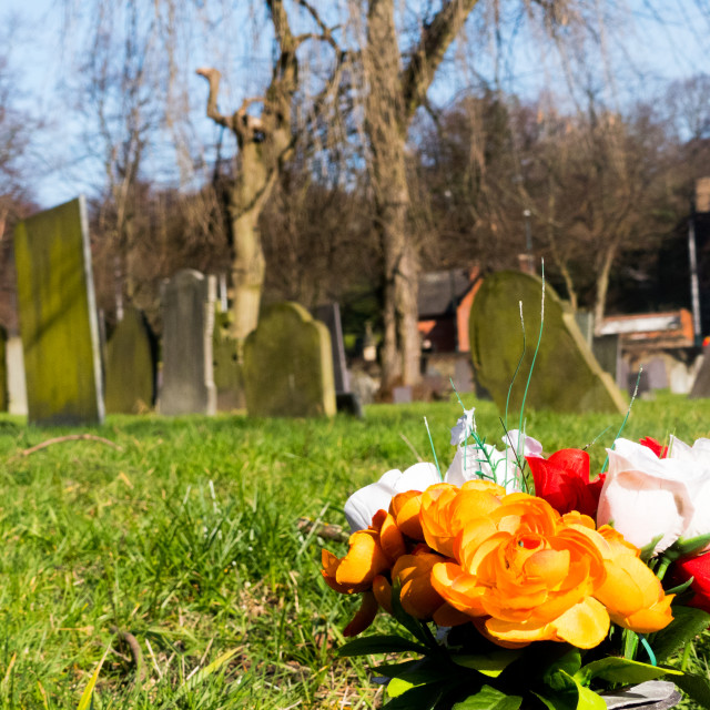 """Flowers and graves at Nottingham General Cemetery"" stock image"