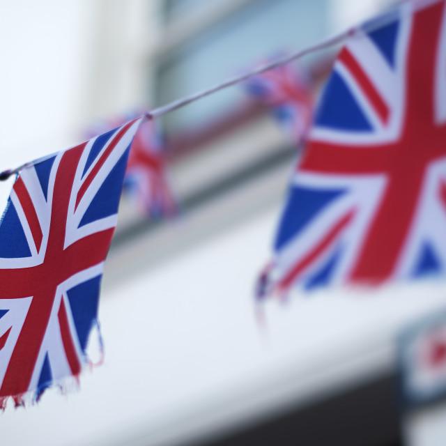 """Great British Union Jack bunting flags"" stock image"