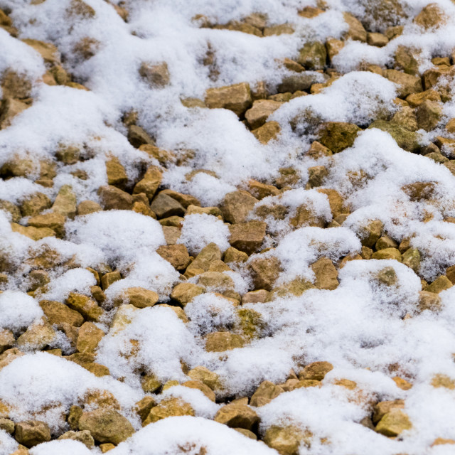 """Snow on gravel"" stock image"