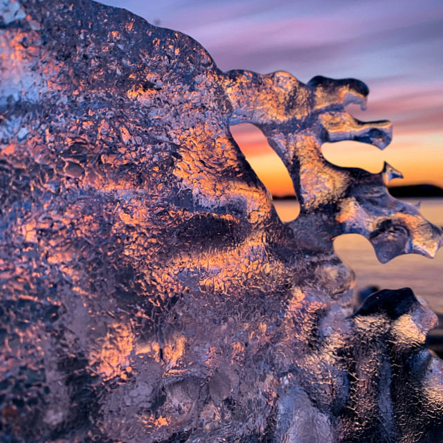 """""""Sunrise through ice, Marquette"""" stock image"""