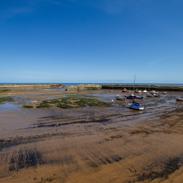 """Staithes Harbour at Low Tide, Yorkshire, England."" stock image"