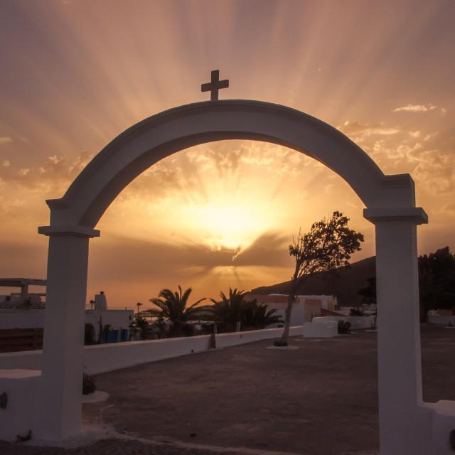 """Agio Georgos Church at Dawn"" stock image"