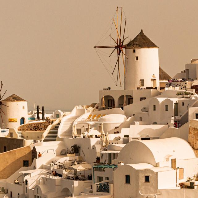 """Santorini Windmills"" stock image"