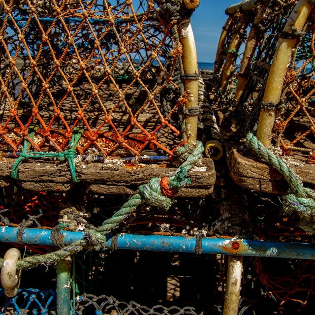 """Lobster Trap, Staithes, Yorkshire, England."" stock image"