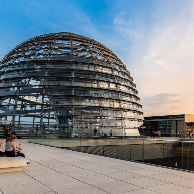 """View at sunset of the dome of Reichstag building in Berlin"" stock image"