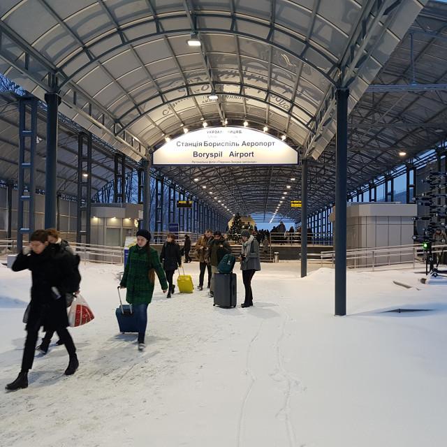 """Boryspil Airport Train Station, Kyiv, Ukraine"" stock image"