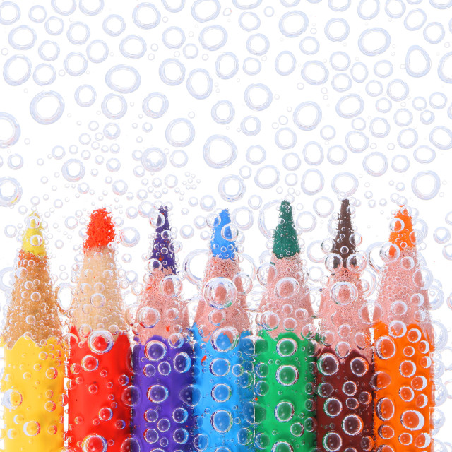 """Colored pencils in air bubbles"" stock image"