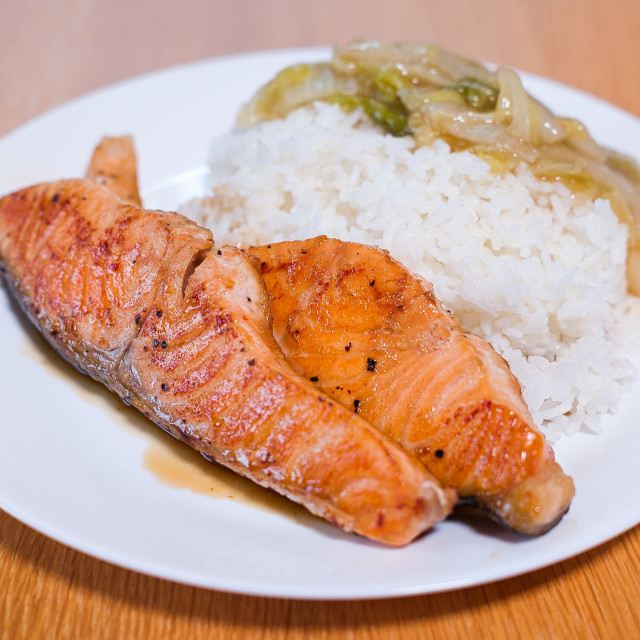 """Steamed Rice with Salmon"" stock image"